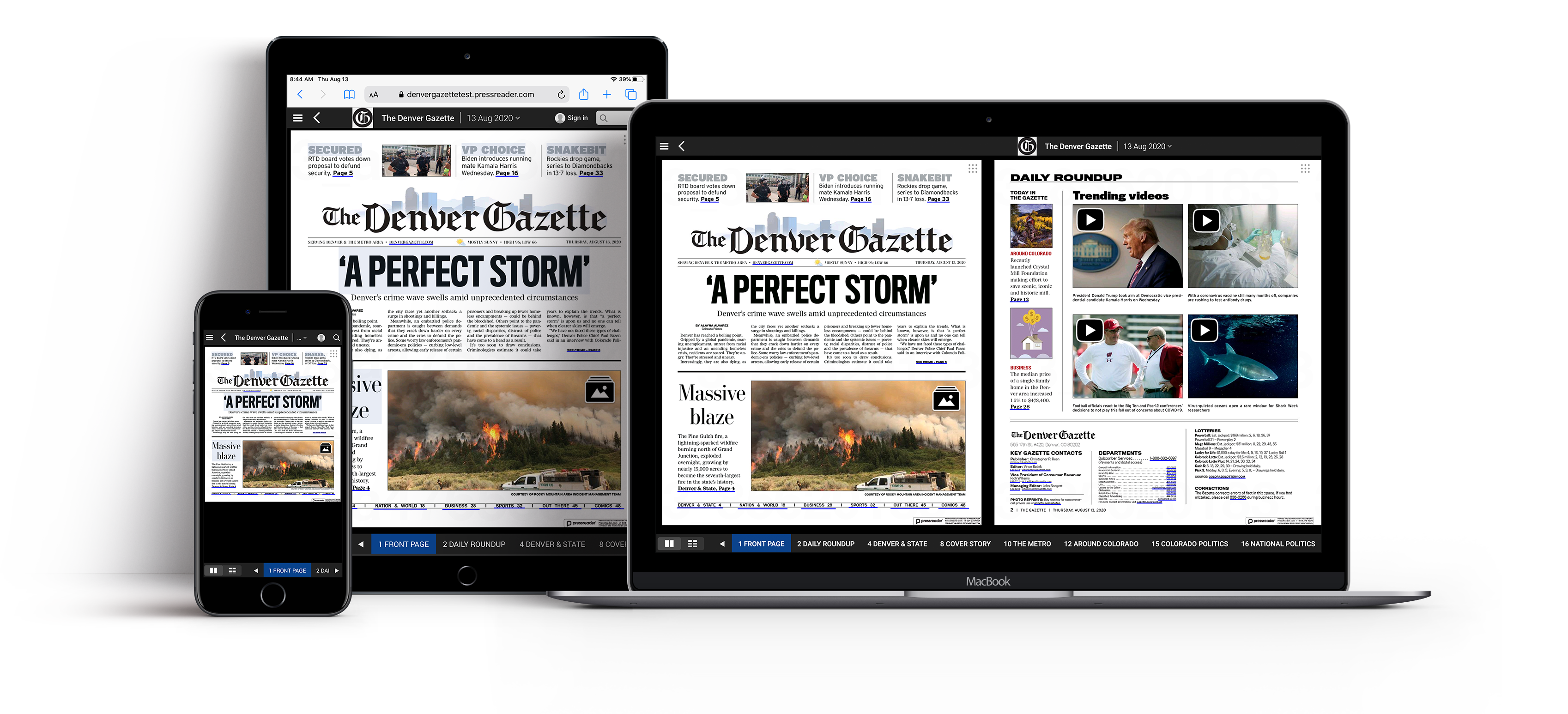 Multiple viewing options available for reading your Denver Gazette newspaper